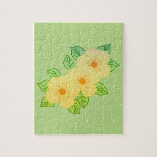 Puzzle trois fleurs jaunes