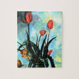 Puzzle Tulipes dans un vase par Paul Cezanne, art vintage