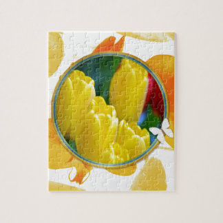 Puzzle Tulipes jaunes dans le cadre rond coloré