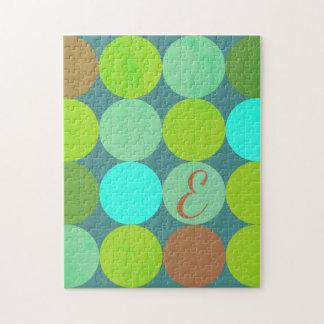 Puzzle Turquoise turquoise de vert de chaux et monogramme