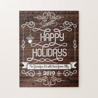 Puzzle Typographie rustique de Noël en bois bonnes fêtes