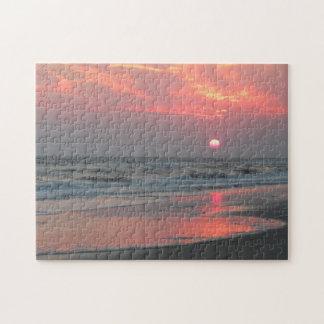 Puzzle Un coucher du soleil parfait - île de chêne, la