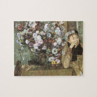 Puzzle Une femme avec des chrysanthèmes par Edgar Degas