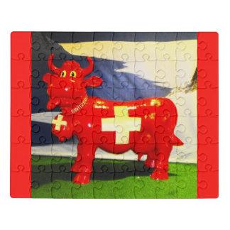 Puzzle Vache suisse rouge