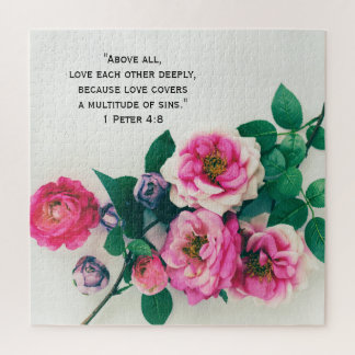 Puzzle Vers rose sauvage rose de bible d'amour de bouquet