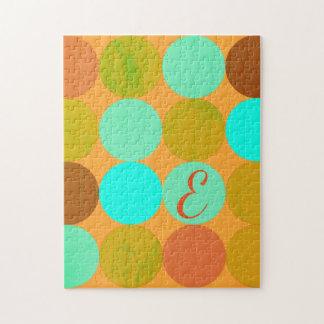 Puzzle Vert bleu de turquoise et monogramme de cercles