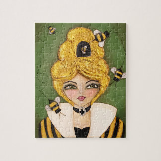 Puzzle Vert jaune d'abeille de ruche de cheveux de noir