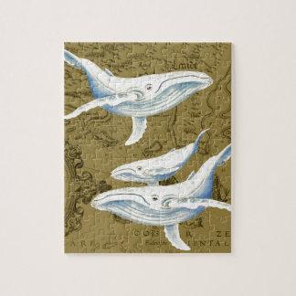 Puzzle Vert olive de famille de baleines bleues