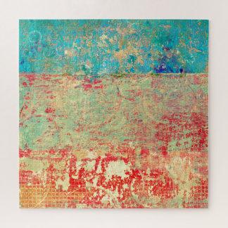 Puzzle Vert rouge de turquoise de peinture de texture