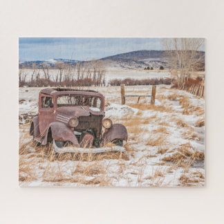 Puzzle Vieux véhicule délabré, hiver, rural, montagnes
