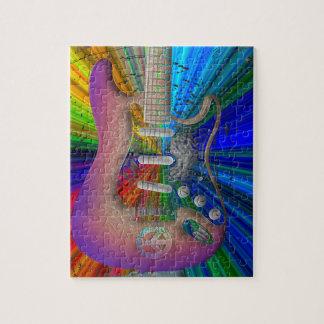 Puzzle vif de guitare de paix de couleurs