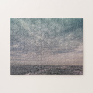 Puzzle Vol de mouette sous un ciel nuageux