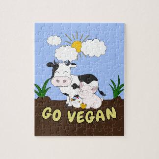 Puzzle Vont le végétalien - vache mignonne