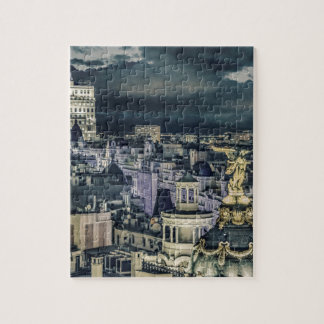 Puzzle Vue aérienne de scène de nuit de paysage urbain de