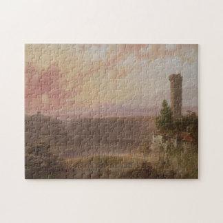 Puzzle Vue de lac Nemi au coucher du soleil