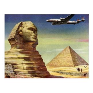 Pyramides vintages Egypte Gizeh de désert d'avion Carte Postale