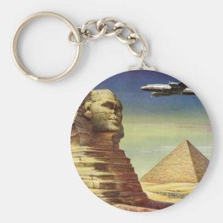 Pyramides vintages Egypte Gizeh de désert d'avion Porte-clé Rond