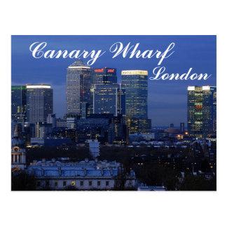 Quai jaune canari, carte postale de Londres