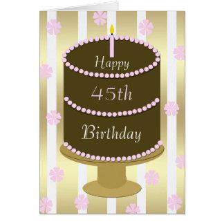 quarante-cinquième Gâteau de carte d'anniversaire