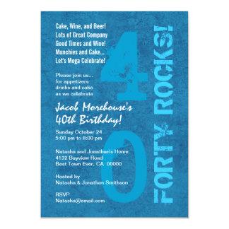 Quarante roches ! quarantième Modèle blanc bleu Carton D'invitation 12,7 Cm X 17,78 Cm