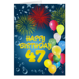 quarante-septième Carte d'anniversaire avec des