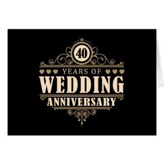 quarantième Anniversaire de mariage Carte De Vœux