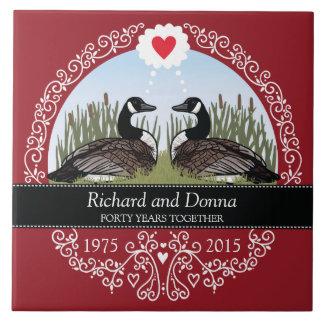 Quarantième anniversaire de mariage personnalisé, grand carreau carré