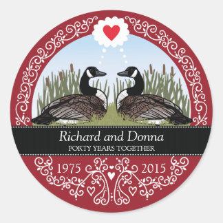 Quarantième anniversaire de mariage personnalisé, sticker rond
