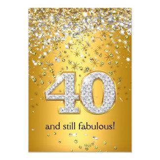 Quarantième anniversaire fabuleux de 40 flammes carton d'invitation  12,7 cm x 17,78 cm