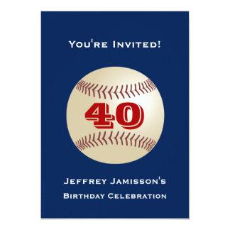 quarantième Base-ball d'invitation de fête Carton D'invitation 12,7 Cm X 17,78 Cm