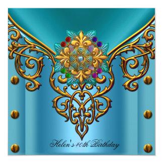 quarantième Bijou bleu turquoise d'or de fête Carton D'invitation 13,33 Cm