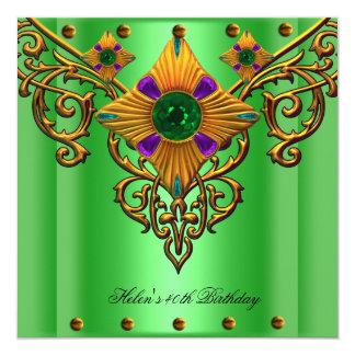 quarantième Bijou d'or vert de fête d'anniversaire Carton D'invitation 13,33 Cm