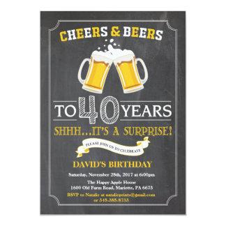 Quarantième carte d'invitation d'anniversaire