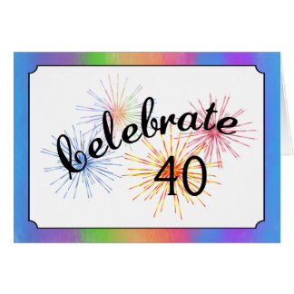 quarantième Célébration d'anniversaire Carte De Vœux