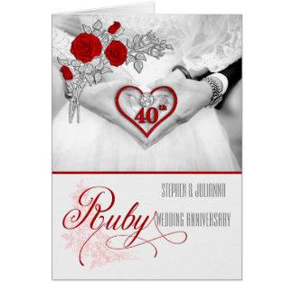 quarantième Coeur rouge de rouge d'anniversaire de Carte De Vœux
