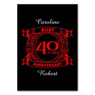 quarantième crête de rubis d'anniversaire de carte