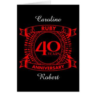 quarantième crête de rubis d'anniversaire de carte de vœux