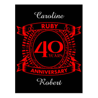 quarantième crête de rubis d'anniversaire de carte postale
