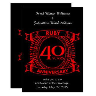 quarantième crête de rubis d'anniversaire de carton d'invitation  12,7 cm x 17,78 cm