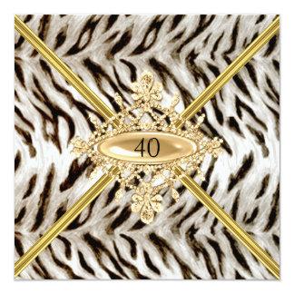 Quarantième effet blanc de tigre de fête carton d'invitation  13,33 cm