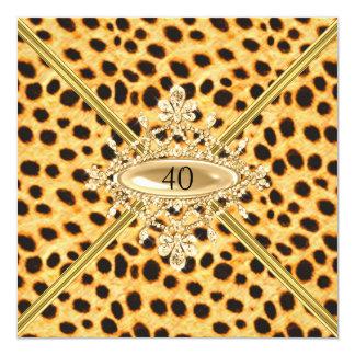 Quarantième effet de guépard de fête carton d'invitation  13,33 cm