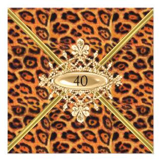 Quarantième effet de léopard de fête d'anniversair faire-part personnalisables
