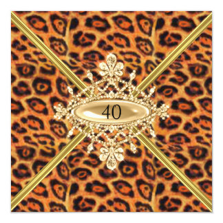 Quarantième effet de léopard de fête faire-part personnalisables