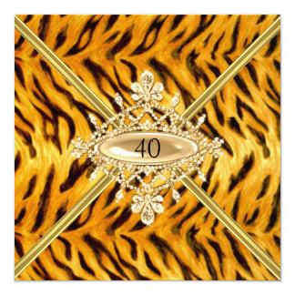 Quarantième effet de tigre de Bengale de fête Carton D'invitation 13,33 Cm