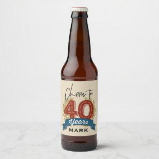 Quarantième étiquette de bière d'anniversaire
