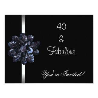 Quarantième fabuleux de fleur de paillette de noir cartons d'invitation personnalisés