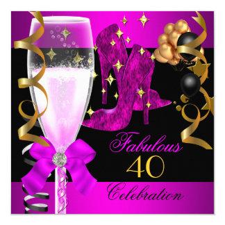 Quarantième fête d'anniversaire de l'or 40 pourpre carton d'invitation  13,33 cm