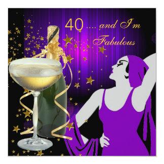 Quarantième fête d'anniversaire fabuleuse de 40 carton d'invitation  13,33 cm