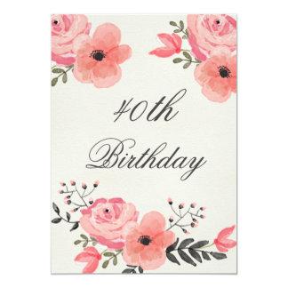 quarantième Fleurs chics d'aquarelle Carton D'invitation 12,7 Cm X 17,78 Cm
