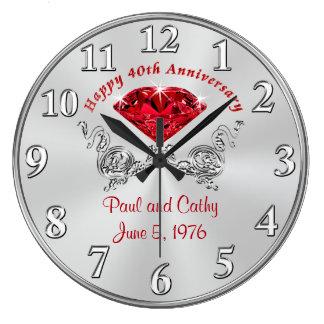 Quarantième horloge ROUGE personnalisée de cadeau